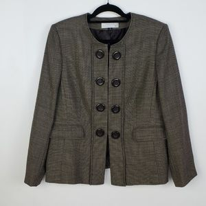 Tahari Wool Tweed Big Button Jacket Blazer $125